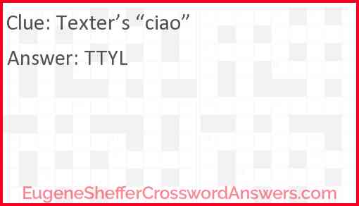 """Texter's """"ciao"""" Answer"""