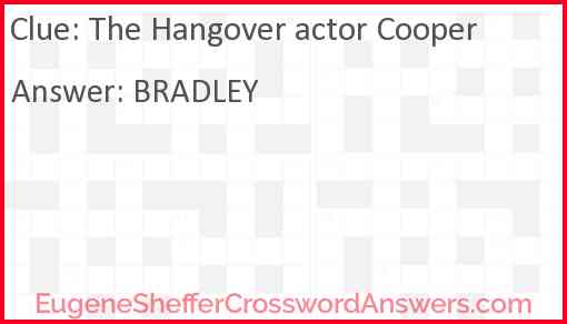 The Hangover actor Cooper Answer