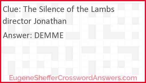 The Silence of the Lambs director Jonathan Answer