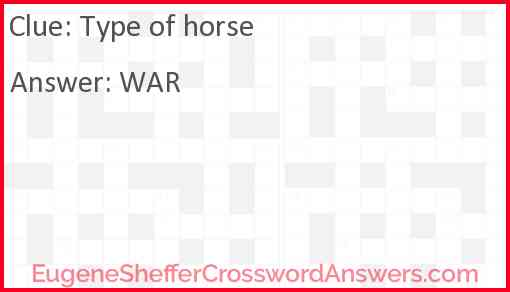 Type of horse Answer