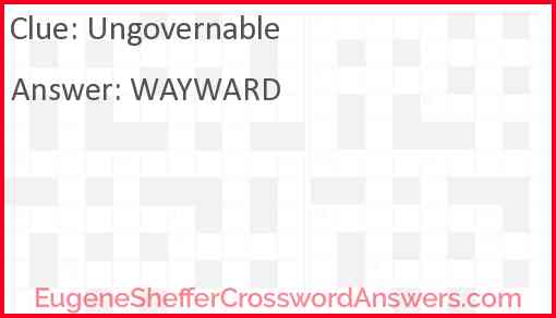 Ungovernable Answer