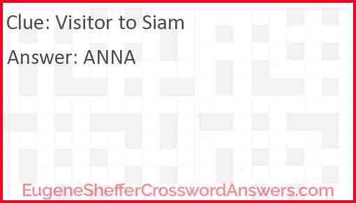 Visitor to Siam Answer