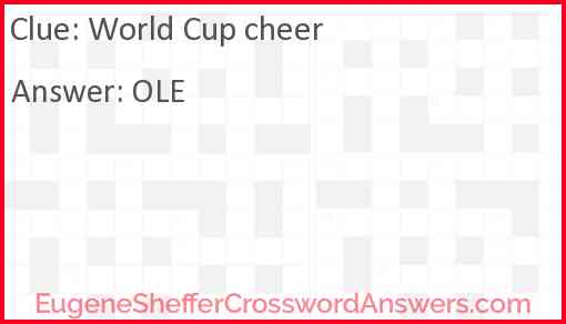 World Cup cheer Answer