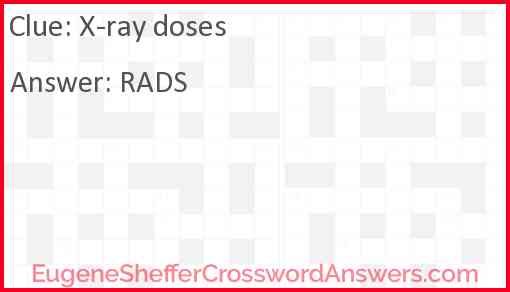X-ray doses Answer