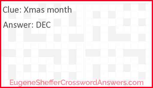 Xmas month Answer